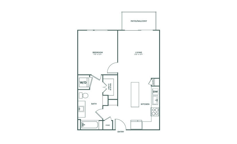 697 sq. ft. to 750 sq. ft. A3 floor plan
