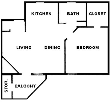 634 sq. ft. floor plan
