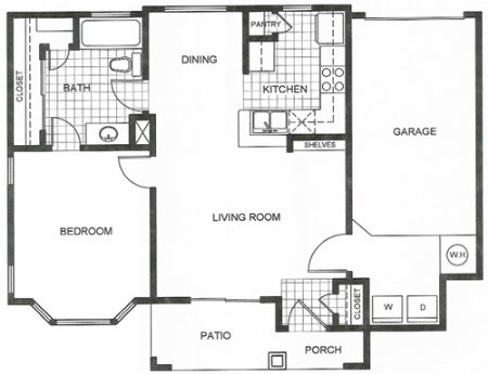 673 sq. ft. to 678 sq. ft. A1 floor plan