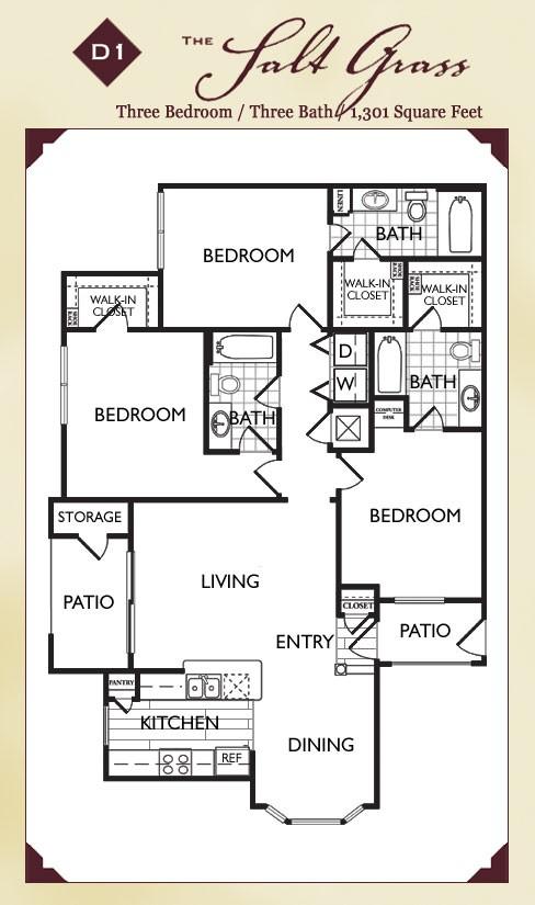 1,301 sq. ft. Saltgrss floor plan