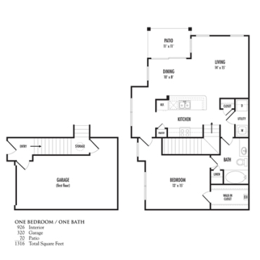 926 sq. ft. Melograno floor plan