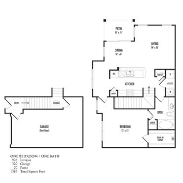 926 sq. ft. Melograno floor plan