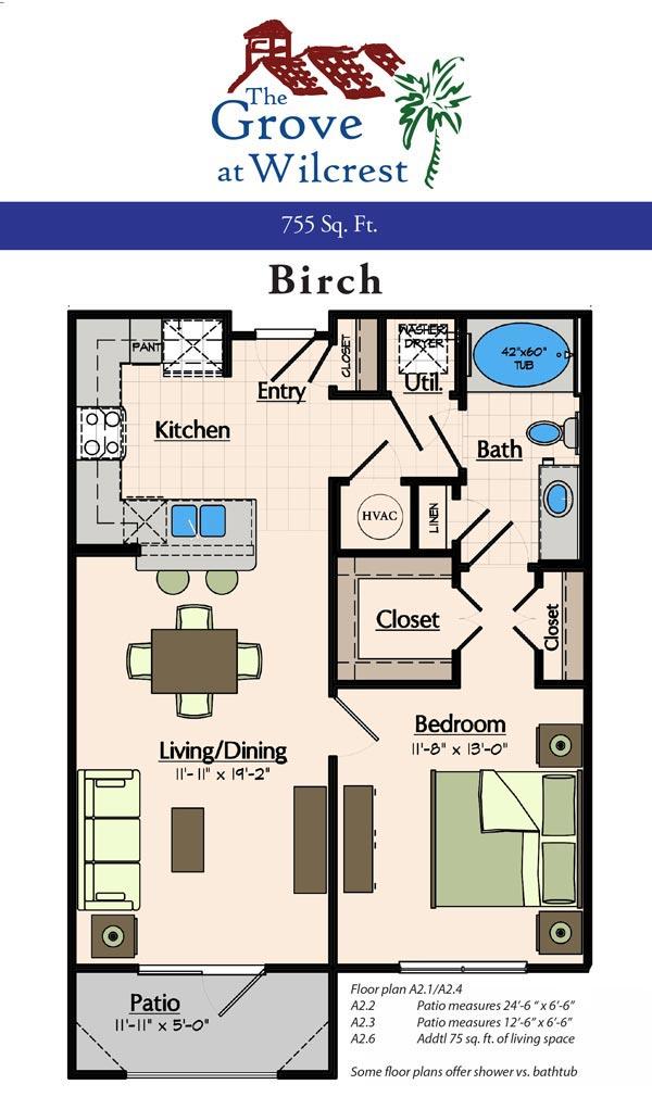 755 sq. ft. A2.4 floor plan