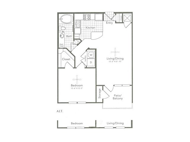 748 sq. ft. A2 West floor plan