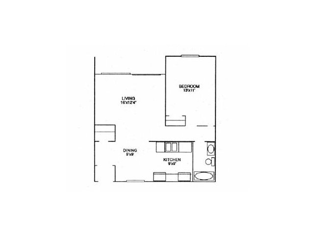 718 sq. ft. A3 floor plan