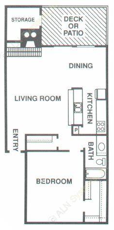 828 sq. ft. A3 floor plan