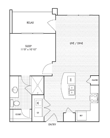612 sq. ft. A2 floor plan