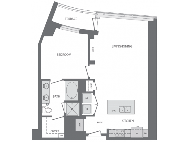 954 sq. ft. H floor plan
