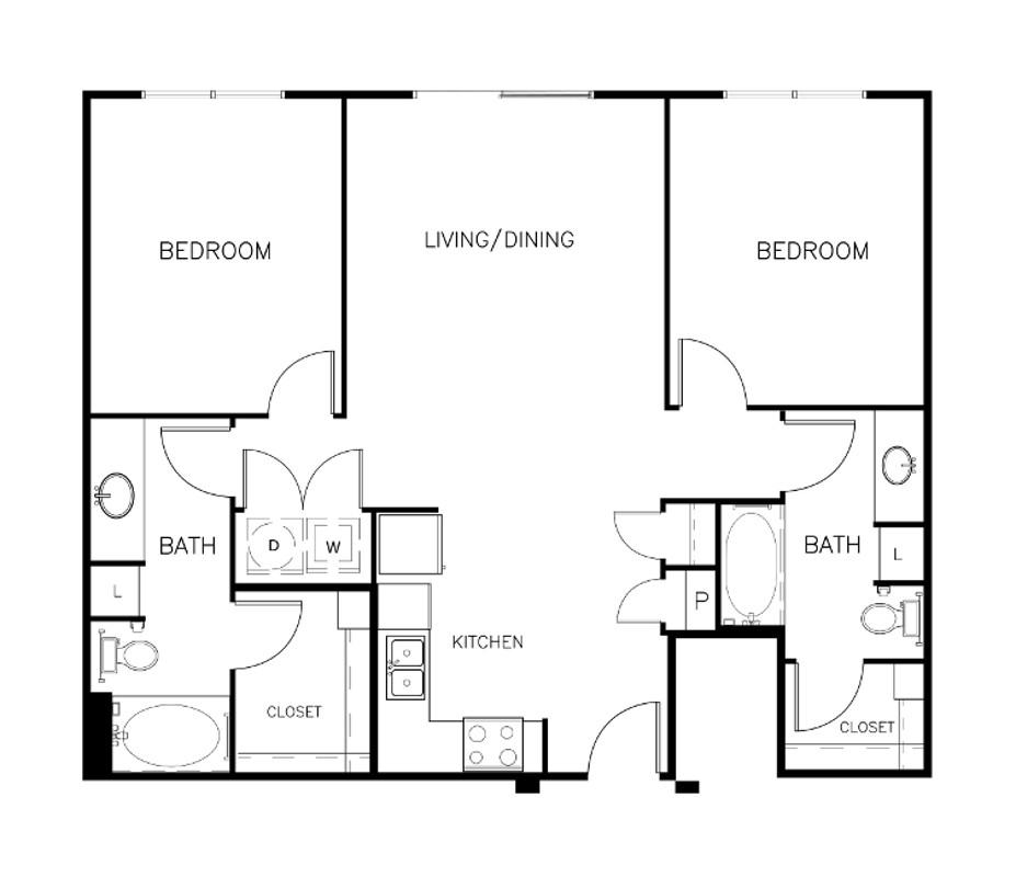 1,024 sq. ft. B1-C floor plan