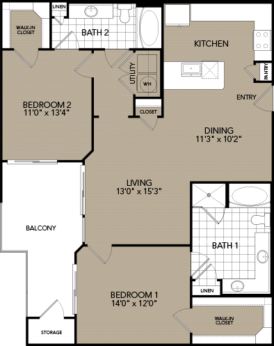 1,233 sq. ft. C2 floor plan