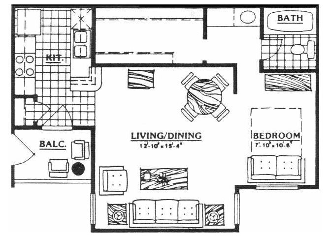 528 sq. ft. EFF floor plan