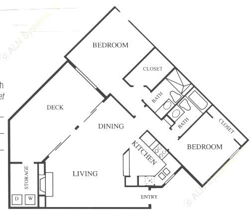 1,079 sq. ft. B2 floor plan