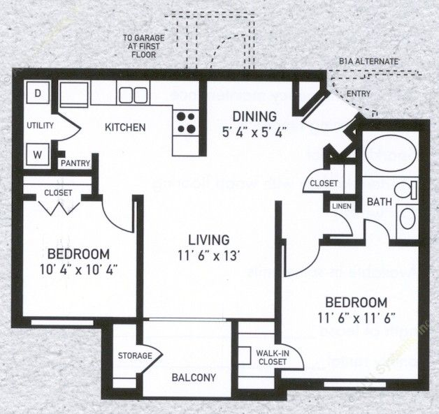 823 sq. ft. B1 floor plan
