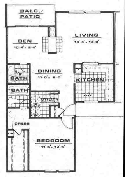 897 sq. ft. A4 floor plan
