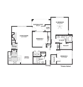 1,415 sq. ft. Willow floor plan