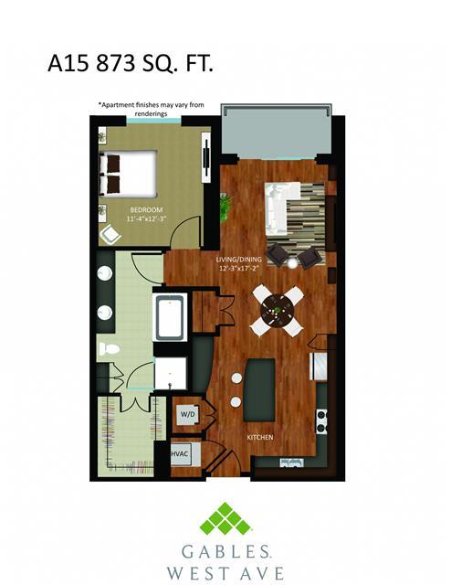 873 sq. ft. DA15 floor plan