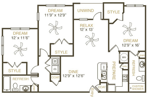 1,380 sq. ft. C3 floor plan