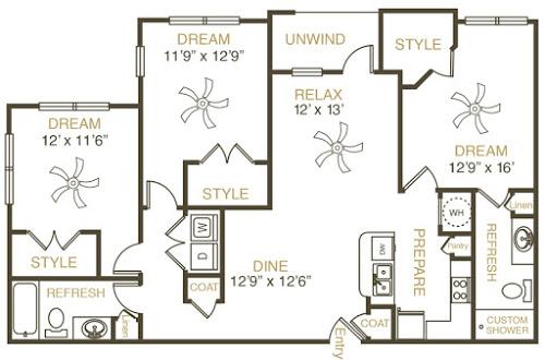 1,380 sq. ft. C3 floor plan