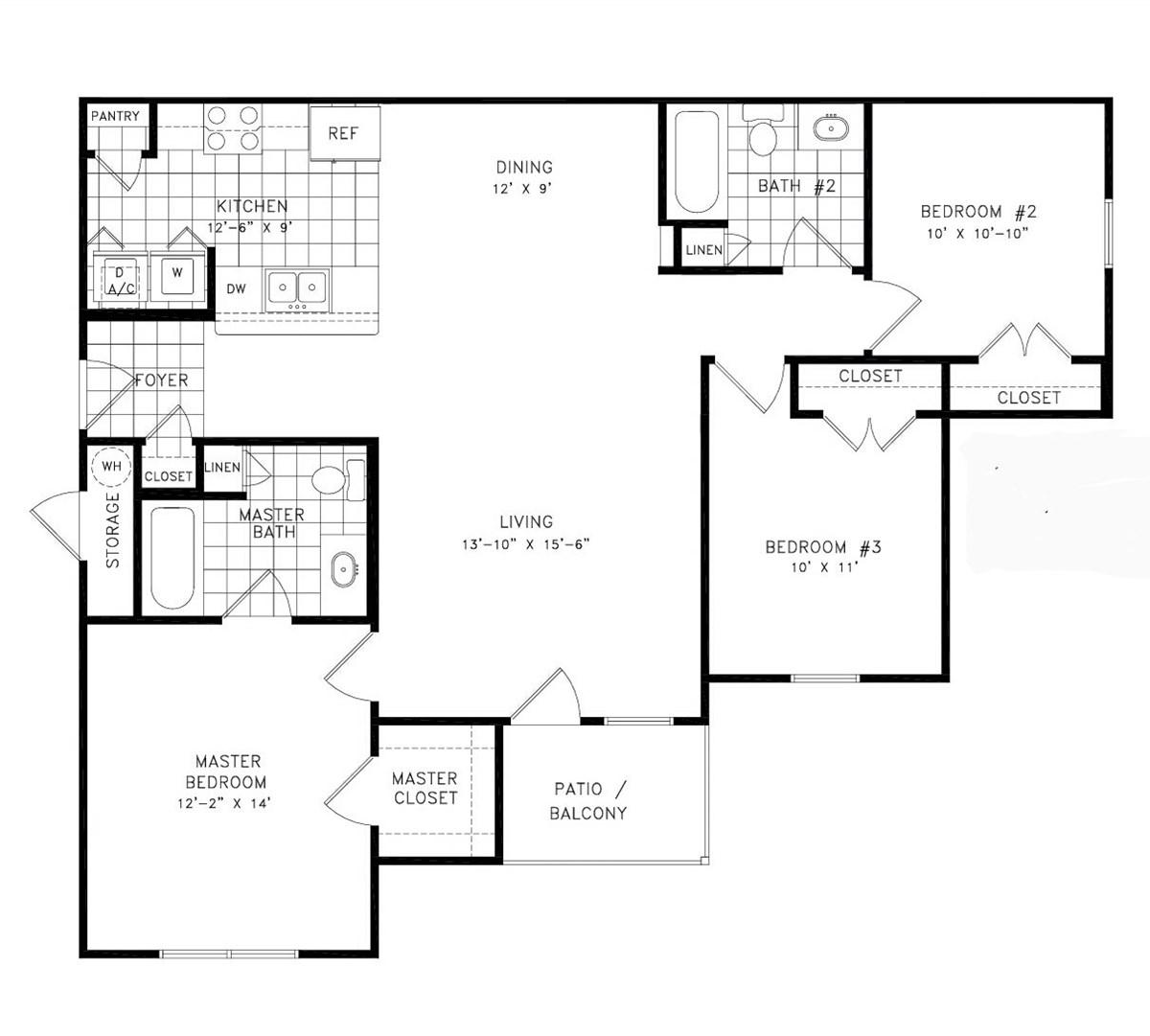 1,216 sq. ft. Cameron floor plan