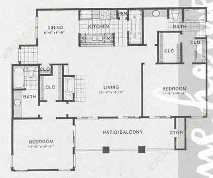 1,251 sq. ft. B4 floor plan