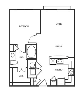 672 sq. ft. Sydney floor plan