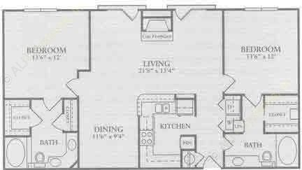 1,245 sq. ft. B3 floor plan