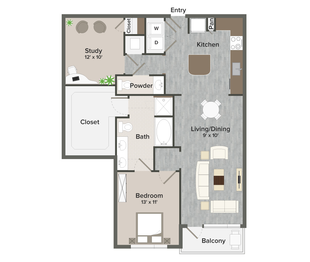 1,079 sq. ft. Norhill-A8 floor plan