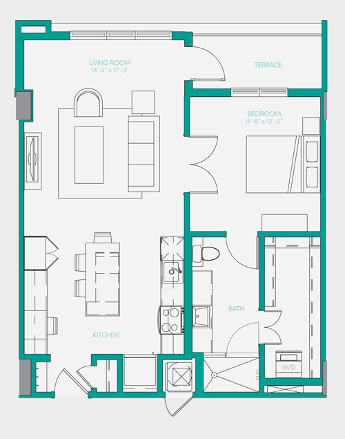 807 sq. ft. A2.2 floor plan