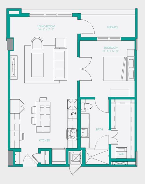 807 sq. ft. A2.2 floor plan