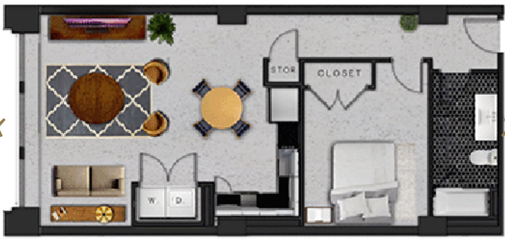 824 sq. ft. p floor plan