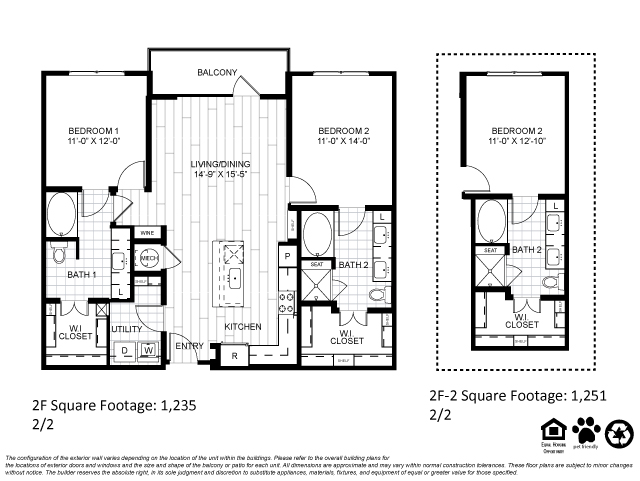 1,235 sq. ft. 2F floor plan