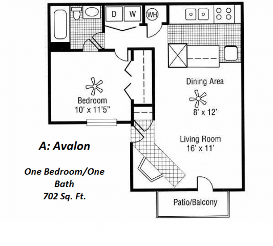 702 sq. ft. 1A floor plan
