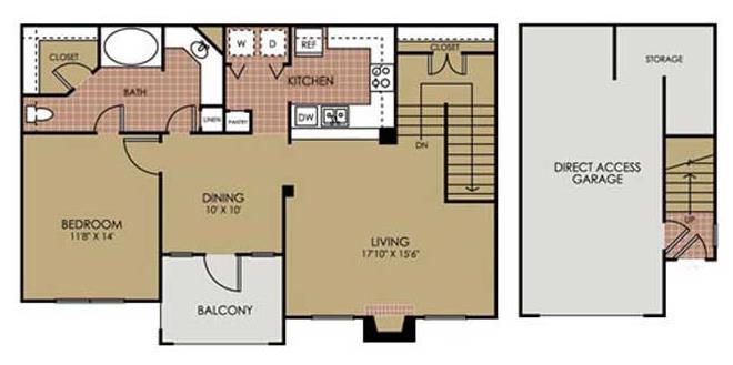 936 sq. ft. A5 floor plan