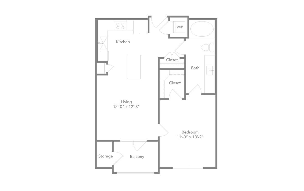 646 sq. ft. A1 floor plan
