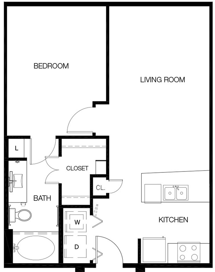 673 sq. ft. to 722 sq. ft. A0 floor plan