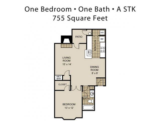 755 sq. ft. A2-A floor plan