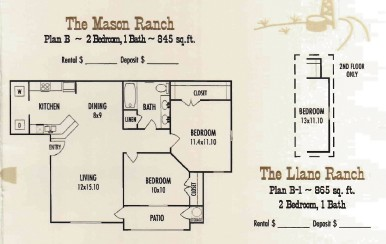 865 sq. ft. Llano Ranch floor plan