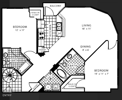 1,128 sq. ft. B8 floor plan