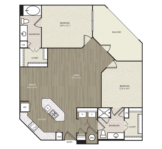 1,259 sq. ft. B12 floor plan