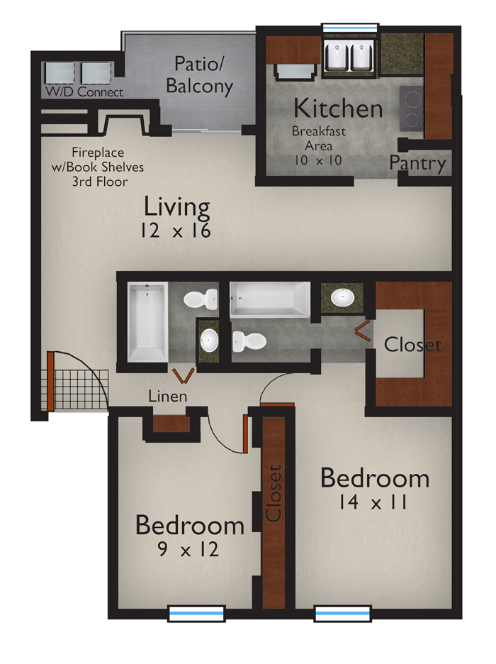 1,048 sq. ft. B floor plan