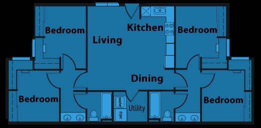 1,138 sq. ft. D1 floor plan