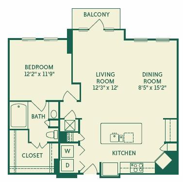 915 sq. ft. 2A2A floor plan