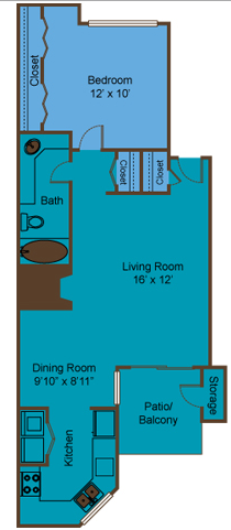 726 sq. ft. A7 floor plan