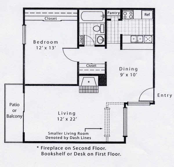687 sq. ft. A3 floor plan