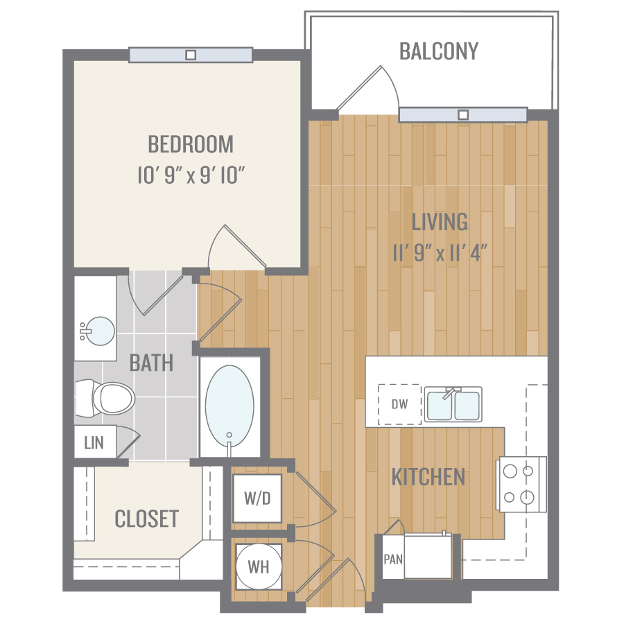 614 sq. ft. A1 floor plan