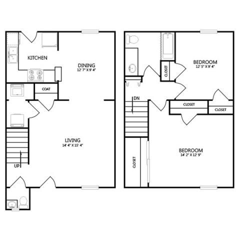 1,110 sq. ft. B1 floor plan