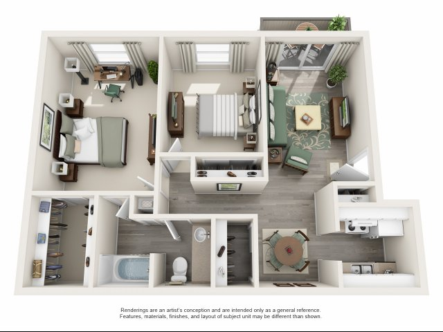 857 sq. ft. C floor plan