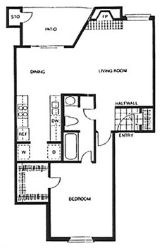 760 sq. ft. A2 floor plan