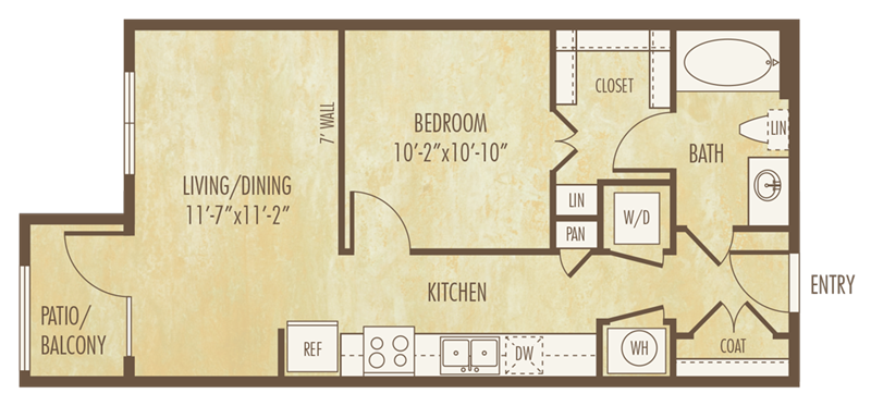 598 sq. ft. to 612 sq. ft. E1F floor plan