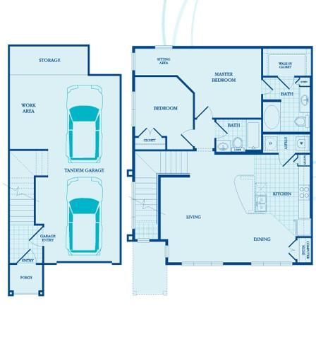 1,159 sq. ft. Thurston - GAR floor plan